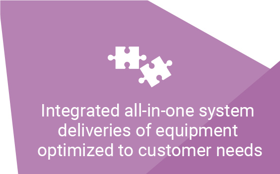Integrated all-in-one system deliveries of equipment optimized to customer needs